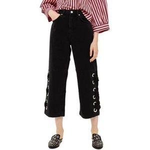 Topshop Black Lace Up Hem Crop Wide Leg Jeans